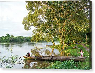 Canoe And River View Canvas Print by Jess Kraft