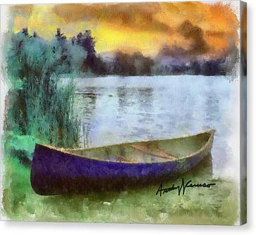 Lakeshore Canvas Print - Canoe by Anthony Caruso