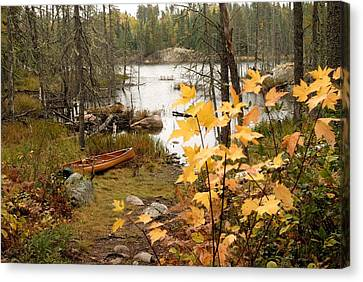 Canoe At Little Bass Lake Canvas Print by Larry Ricker