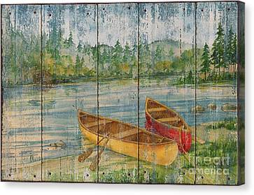 Canoe Camp - Distressed Canvas Print by Paul Brent