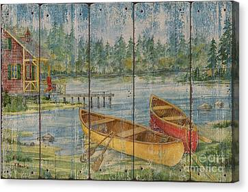 Canoe Camp With Cabin - Distressed Canvas Print by Paul Brent