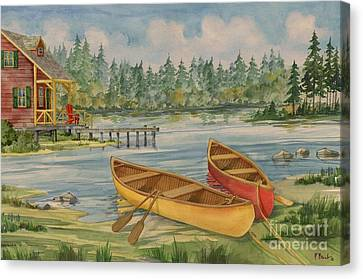 Canoe Camp With Cabin Canvas Print by Paul Brent