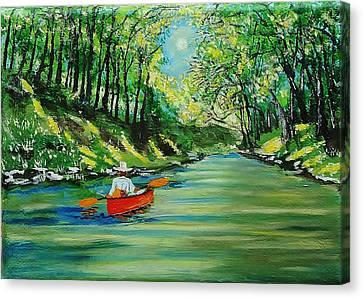 Canoe Cruising Canvas Print by Mike Caitham