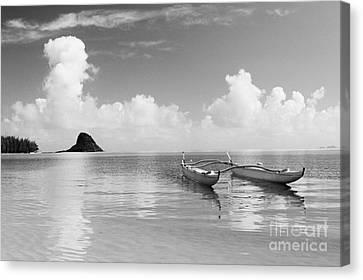 Canoe Landscape - Bw Canvas Print by Joss - Printscapes