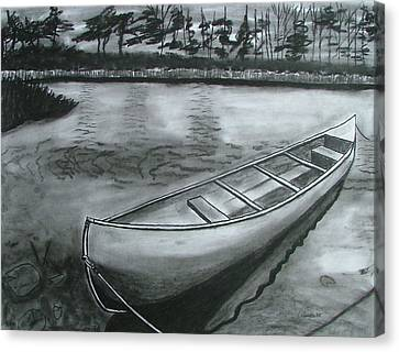 Canoe On Pond Canvas Print by Lee Davies