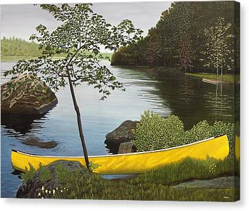 Canoe On The Bay Canvas Print by Kenneth M  Kirsch