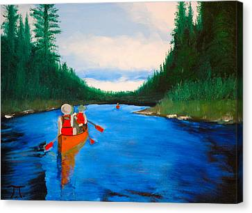 Canoeing Boundary Waters Bsa Canvas Print by Troy Thomas