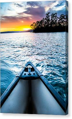 Canoeing In Paradise Canvas Print