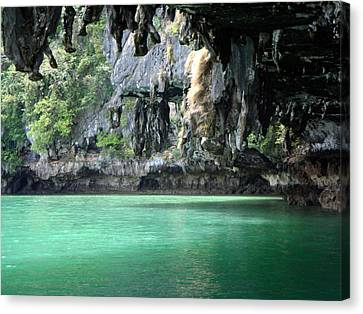 Canoeing In Thailand Canvas Print by Kelly Jones