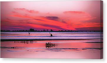 Canoeing On Color Canvas Print by Michael Frizzell