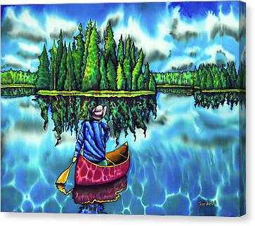 Canoeing Ontario Canvas Print by Daniel Jean-Baptiste