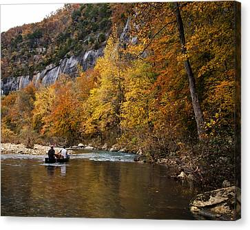 Canoeing The Buffalo River At Steel Creek Canvas Print by Michael Dougherty