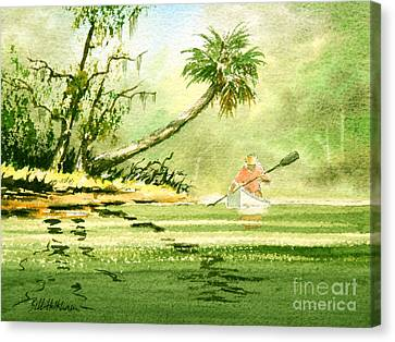 Canoeing The Rivers Of Florida Canvas Print by Bill Holkham