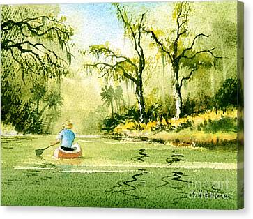 Canoeing The Rivers Of Florida II Canvas Print by Bill Holkham