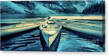 Canoes Banff Mug Canvas Print