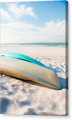 Canoes In Summer Paradise Canvas Print by Shelby Young