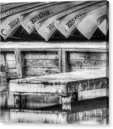 Canoes On The Platte Canvas Print