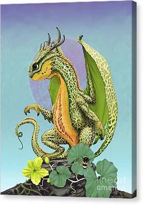 Canvas Print featuring the digital art Cantaloupe Dragon by Stanley Morrison