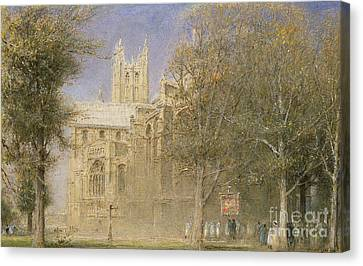 Canterbury Cathedral Canvas Print by Albert Goodwin