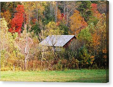 Cantilever Barn - Autumn Canvas Print by Faye Bryant