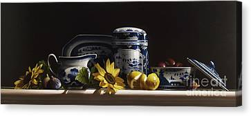 Canton With Sunflowers And Fruit Canvas Print