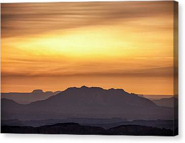 Canyon Layers With Fiery Sunrise Canvas Print