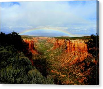 Canyon Rainbow Canvas Print by Ellen  Leigh