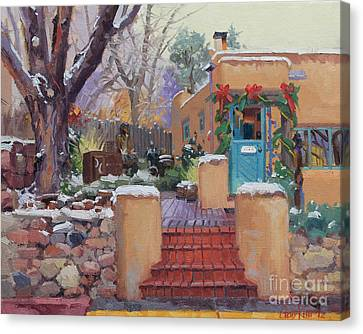Canyon Road Christmas Canvas Print by Gary Kim