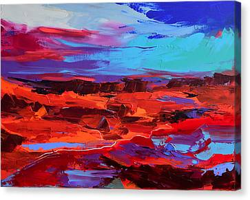 Canvas Print featuring the painting Canyon At Dusk - Art By Elise Palmigiani by Elise Palmigiani