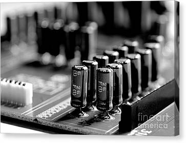 Electronic Component Canvas Print - Capacitors All In A Row by Mike Eingle