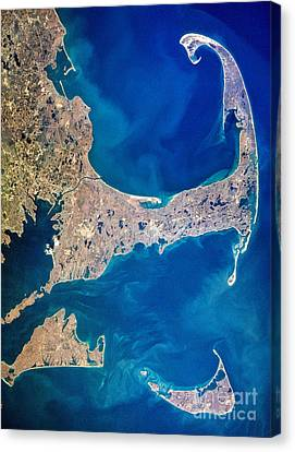Aerial View Canvas Print - Cape Cod And Islands Spring 1997 View From Satellite by Matt Suess