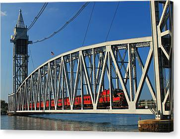 Cape Cod Canal Railroad Bridge Train Canvas Print by John Burk