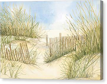 Cape Cod Dunes And Fence Canvas Print by Virginia McLaren