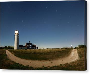 Cape Cod Light Starry Night Canvas Print by Bill Wakeley