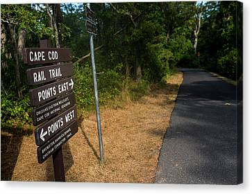 Cape Cod Rail Trail Sign Eastham Path Canvas Print