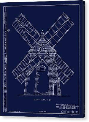 Canvas Print featuring the photograph Historic Cape Cod Windmill Blueprint by John Stephens