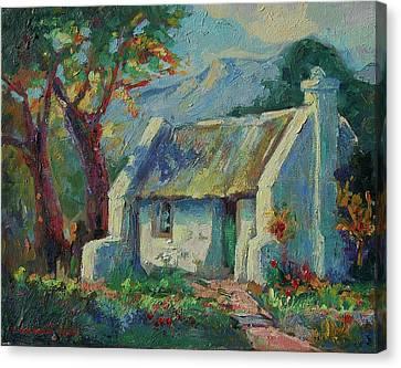 Cape Cottage With Mountains Art Bertram Poole Canvas Print