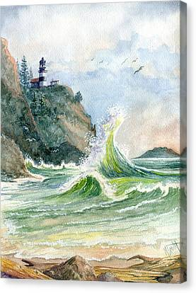 Canvas Print featuring the painting Cape Disappointment Lighthouse by Marilyn Smith