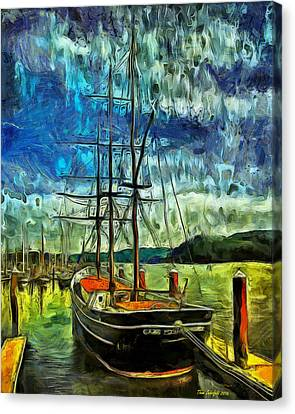 Canvas Print featuring the photograph Cape Foulweather Tall Ship by Thom Zehrfeld