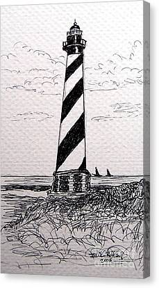 Canvas Print featuring the drawing Cape Hatteras Lighthouse Nc by Julie Brugh Riffey