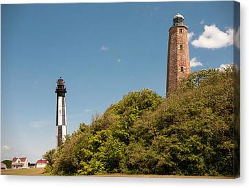 Cape Henry Lighthouses Old And New Canvas Print