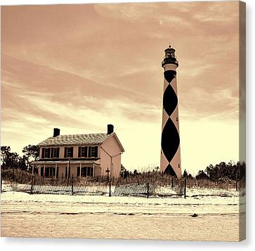 Cape Lookout Lighthouse In Sepia Canvas Print by Phyllis Taylor