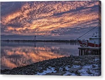 Cape May Harbor Sunrise Canvas Print by Tom Singleton