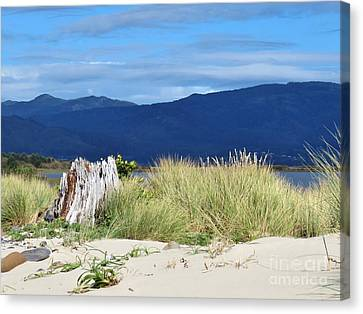 Sand Grass Mountains Sky Canvas Print