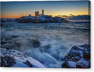 Cape Neddick In The Cold Canvas Print by Rick Berk