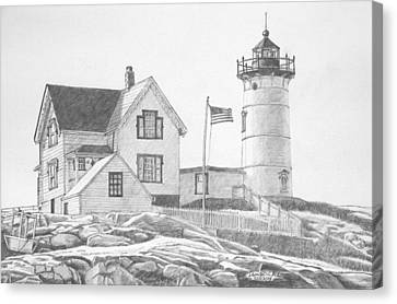 Cape Neddick Canvas Print - Cape Neddick Light House Drawing by Dominic White