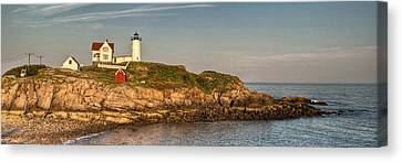 Cape Neddick Lighthouse Island In Evening Light - Panorama Canvas Print by At Lands End Photography