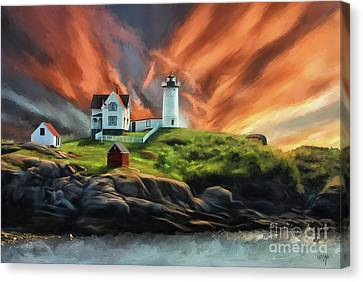 Canvas Print featuring the digital art Cape Neddick Nubble Lighthouse by Lois Bryan