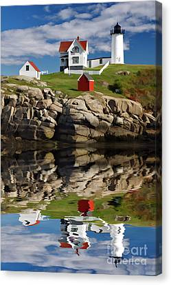 Cape Neddick Reflection - D003756a Canvas Print by Daniel Dempster