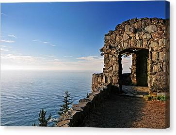 Canvas Print featuring the photograph Cape Perpetua Stone Shelter by Lara Ellis
